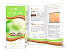 Open book on wood planks over abstract light background Brochure Template