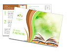 Open book on wood planks over abstract light background Postcard Templates