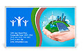 Hands holding clear green meadow with sun battery block, wind mill turbines and city skyscrapers. Co Business Card Template