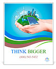 Hands holding clear green meadow with sun battery block, wind mill turbines and city skyscrapers. Co Poster Template