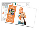 Happy young student girl holding books, high school or college graduand, cute casual teenager smilin Postcard Templates