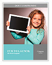 Happy child with tablet computer. Kid showing Word Templates