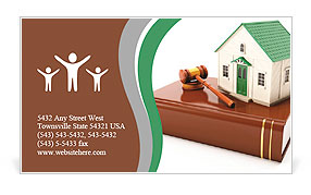 3+??+?T? illustration: Protection of the rights of a private property. The house costs on books with Business Card Template