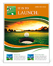 Golf ball about to fall into the cup at sunset Flyer Templates