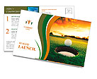 Golf ball about to fall into the cup at sunset Postcard Template