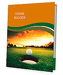 Golf ball about to fall into the cup at sunset Presentation Folder