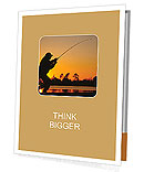 A fisherman fight against a bass at sunset Presentation Folder