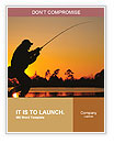 A fisherman fight against a bass at sunset Word Templates