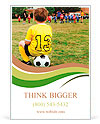 Young boy child in uniform watching organized youth soccer or football game from sidelines Ad Template