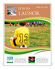 Young boy child in uniform watching organized youth soccer or football game from sidelines Flyer Templates