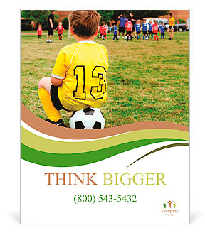Young Boy Child In Uniform Watching Organized Youth Soccer Or Football Game From Sidelines Poster Template
