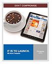 Morning news. Tablet pc and clock as cup of coffee. 3d Word Template