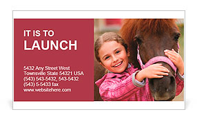 Horse and lovely girl - best friends Business Card Template