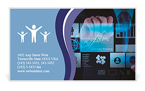 Businessman hand working with new modern computer and business strategy as concept Business Card Templates