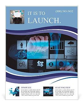 Homme d'affaires travaillant main avec la nouvelle stratégie de l'ordinateur et l'entreprise moderne en tant que concept Flyer