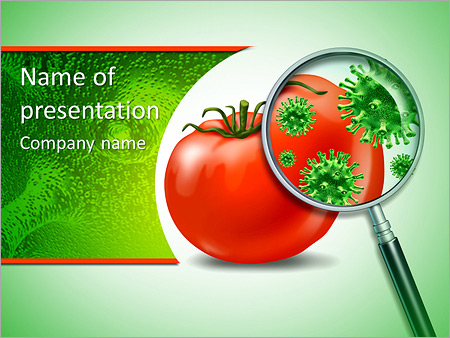 food safety and inspection symbol with a magnifying glass looking, Modern powerpoint
