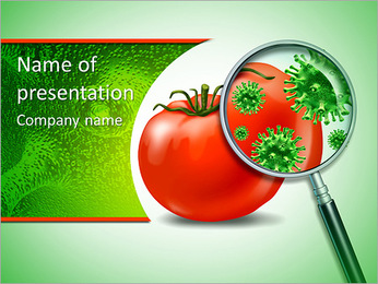 Food safety and inspection symbol with a magnifying glass looking closely at a virus bacterial infec PowerPoint Template