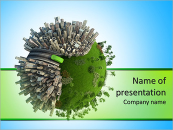 Conceptual miniature planet for environmental change and green energy transportation isolated and wi PowerPoint Template