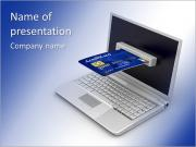 E-commerce. Laptop and credit card on white isolated background. 3d PowerPoint Templates