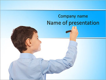 Boy writing on an imaginary board. Any text can be attached to the image to make it meaningful for b PowerPoint Template