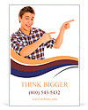 Young man pointing Ad Template