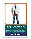 Happy smiling young man standing full length isolated on white background Ad Template