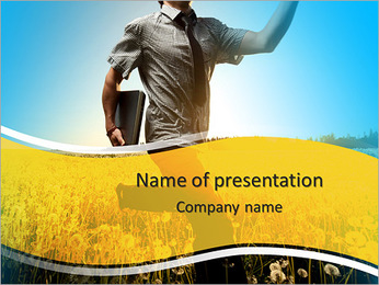 Young man with laptop in hand running on meadow with dandelions PowerPoint Template
