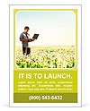 Happy young man with laptop in hand standing on meadow with dandelions Ad Template