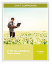 Happy young man with laptop in hand standing on meadow with dandelions Word Template