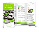 Zen basalt stones and bamboo with dew Brochure Templates