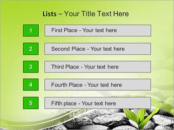 Piedras de basalto de Zen y bambú con el rocío Plantillas de Presentaciones PowerPoint - Diapositiva 3