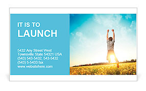 Young man jumping on meadow with dandelions on cloudy background Business Card Template