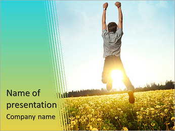 Young man jumping on meadow with dandelions on cloudy background PowerPoint Template
