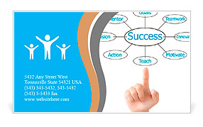 Hand pointing plan success flow chart Business Card Template