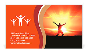 Man Jumping in Sun Rays Business Card Template