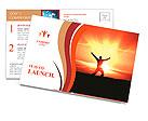 Man Jumping in Sun Rays Postcard Template