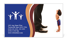 Little small child is looking at the giant legs of businessman adult Business Card Template