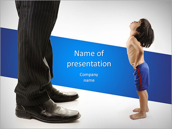 Little small child is looking at the giant legs of businessman adult PowerPoint Template