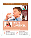 Closeup portrait of a boy drinking a glass of milk, isolated on white background Flyer Template