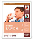 Closeup portrait of a boy drinking a glass of milk, isolated on white background Poster Template