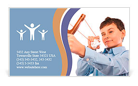 Portrait of a schoolboy sending notes or messages with slingshot and a piece of crumpled paper Business Card Template