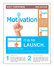 Hand and word motivation. - business concept isolated on white background Flyer Templates