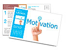Hand and word motivation. - business concept isolated on white background Postcard Template