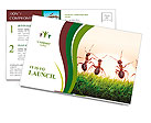 Team of ants on sunrise, joy of life, concept of success Postcard Templates