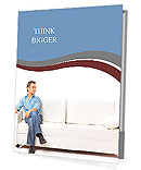 Portrait of the young man in white on sofa Presentation Folder