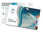 Image of businessman letting paper airplane fly and looking at it on background of blue sky Postcard Template