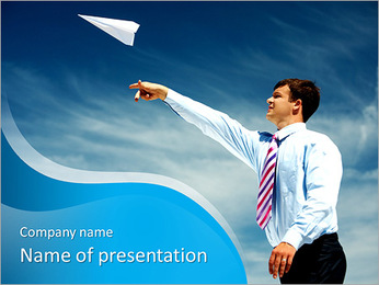 Image of businessman letting paper airplane fly and looking at it on background of blue sky PowerPoint Template