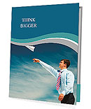 Image of businessman letting paper airplane fly and looking at it on background of blue sky Presentation Folder