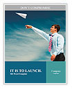 Image of businessman letting paper airplane fly and looking at it on background of blue sky Word Templates