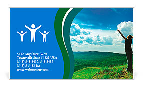 Young woman enjoying the fresh air. Business Card Template